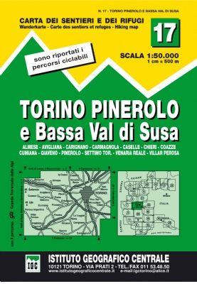 IGC 17 - Wanderkarte für Torino - Pinerolo e Bassa Val di Susa 1:50.000