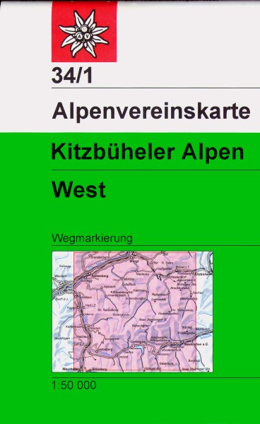 DAV Alpenvereinskarte 34/1 Kitzbüheler Alpen West, Wanderkarte 1:50.000