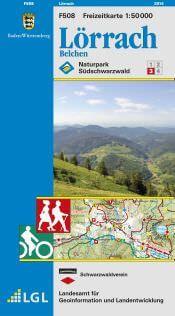 Lörrach in 1:50.000 Freizeitkarte - F508 mit Rad- und Wanderwegen