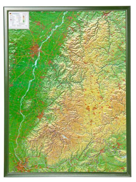 Schwarzwald Relief groß mit Holzrahmen – 77 cm x 57 cm