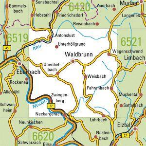 6520 WALDBRUNN topographische Karte 1:25.000 Baden-Württemberg, TK25