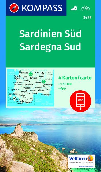 Kompass Kartenset 2499 (2 Karten), Sardinien Süd 1:50.000, Wandern, Rad fahren