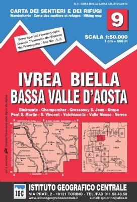 IGC 9 - Wanderkarte für Ivrea-Biella-Bassa Valle d'Aosta 1:50.000
