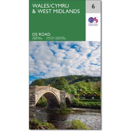 OS Straßenkarte 6 Wales/Cymru & West Midlands, 1:250.000, Ordnance Survey