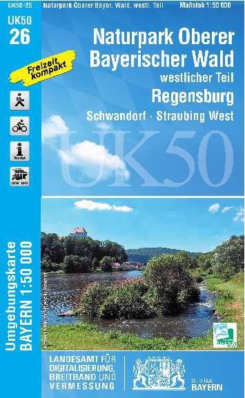UK50-26 NP Oberer Bayerischer Wald West Rad- und Wanderkarte 1:50.000 - Umgebungskarte Bayern