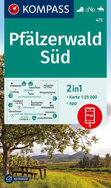 Kompass Karte 473 Pfälzerwald Süd, 1:25.000, Wandern, Rad fahren