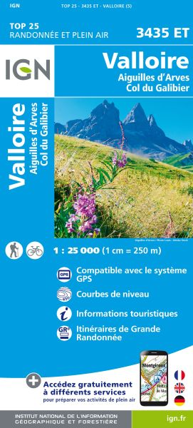 IGN 3435 ET Valloire, Aiguilles d'Arves, Frankreich Wanderkarte 1:25.000