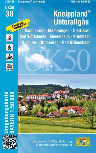 UK50-38 Kneippland & Unterallgäu Rad- und Wanderkarte 1:50.000 - Umgebungskarte Bayern