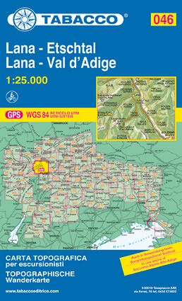 Tabacco 046 Lana - Val d'Adige / Etschtal Wanderkarte 1:25.000