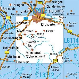 L8112 Freiburg / S topographische Karte 1:50.000 Baden-Württemberg, TK50