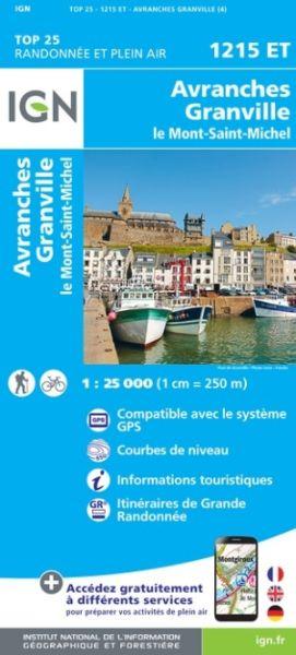 IGN 1215 ET Avranches / Granville / Le Mont-St-Michel, Frankreich Wanderkarte 1:25.000