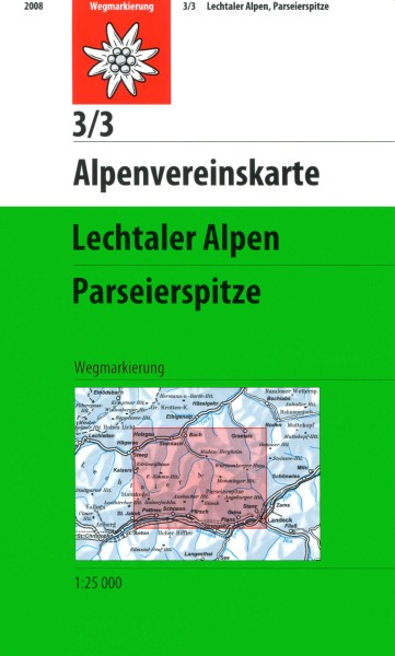 DAV Alpenvereinskarte 3/3 Lechtaler Alpen, Parseierspitze, Wanderkarte 1:25.000