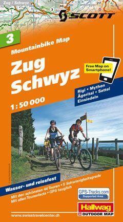 Hallwag Mountainbike Map Bl.3, Zug, Schwyz, 1:50.000, Wasser- und reißfest