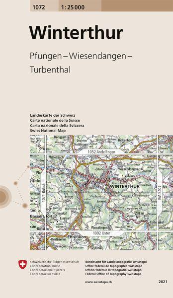 1072 Winterthur topographische Wanderkarte Schweiz 1:25.000