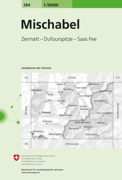 284 Mischabel topographische Wanderkarte Schweiz 1:50.000