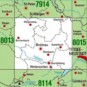 8014 HINTERZARTEN topographische Karte 1:25.000 Baden-Württemberg, TK25