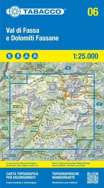 Tabacco 06 Val di Fassa e Dolomiti Fassane Wanderkarte 1:25.000