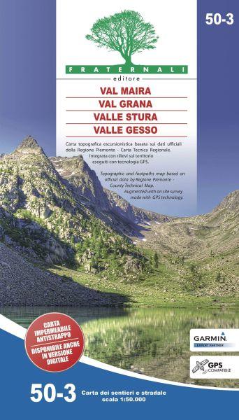 Val Maira, Val Grana, Valle Stura, Valle Gesso Wanderkarte 1:50.000, Fraternali 50-3