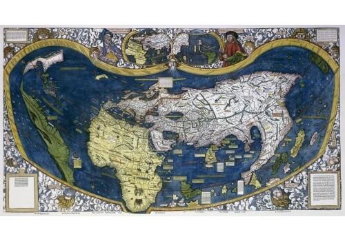 Weltkarte antik - Karte von Martin Waldseemüller 1507 - Poster Nachdruck 94 cm x 55 cm