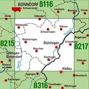 8216 STÜHLINGEN topographische Karte 1:25.000 Baden-Württemberg, TK25