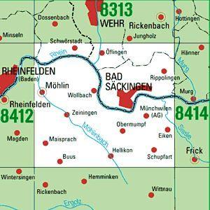 8413 BAD SÄCKINGEN topographische Karte 1:25.000 Baden-Württemberg, TK25