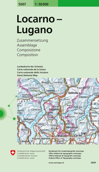 5007 Locarno - Lugano topographische Wanderkarte Schweiz 1:50.000