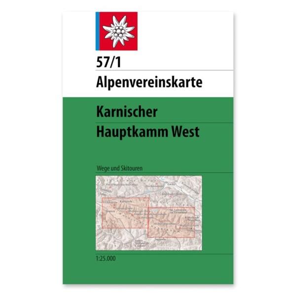 DAV Alpenvereinskarte 57/1 Karnischer Hauptkamm West 1:25.000 Wanderkarte