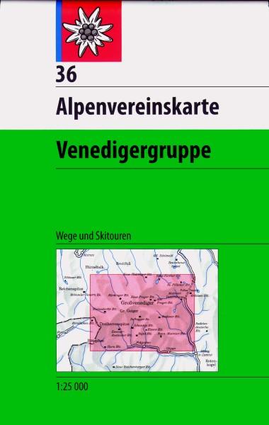 DAV Alpenvereinskarte 36 Venedigergruppe Ski- und Wanderkarte 1:25.000