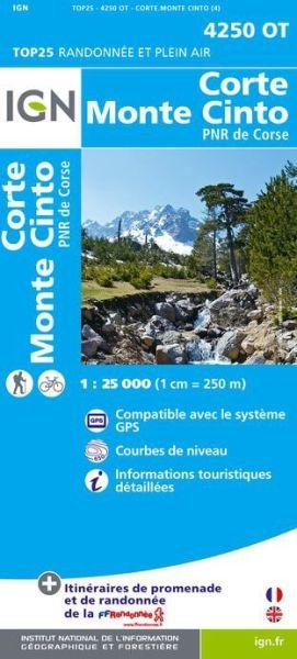 IGN 4250 OT Corte - Monte Cinto, Korsika Wanderkarte 1:25.000