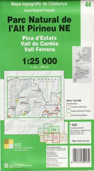 Parc Natural de l'Alt Pirineu Nord-Ost 1:25.000 topographische Karte; ICC