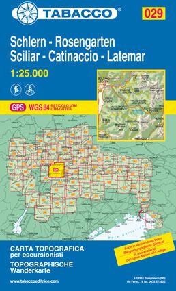 Tabacco 029 Schlern - Rosengarten - Latemar Wanderkarte 1:25.000