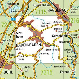7215 BADEN-BADEN topographische Karte 1:25.000 Baden-Württemberg, TK25