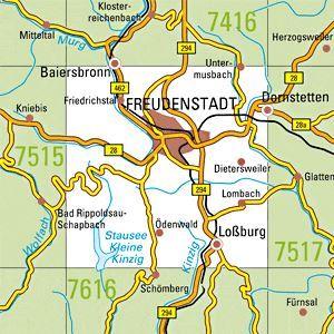 7516 FREUDENSTADT topographische Karte 1:25.000 Baden-Württemberg, TK25