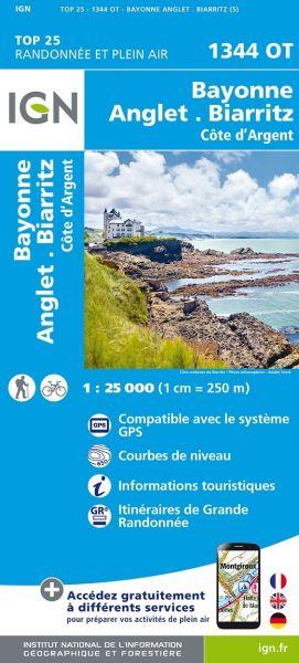 IGN 1344 OT Bayonne, Anglet, Biarritz, Frankreich Wanderkarte 1:25.000