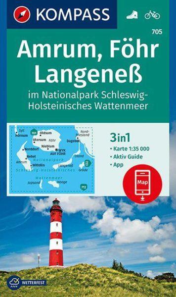 Kompass Karte 705, Amrum, Föhr, Langeneß 1:35.000, Wandern, Rad fahren