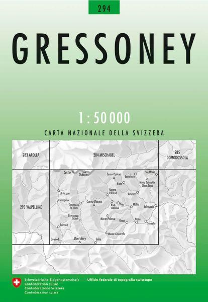 294 Gressoney topographische Wanderkarte Schweiz 1:50.000