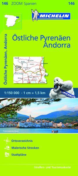 Michelin zoom 146 Östliche Pyrenäen, Andorra Straßenkarte 1:150.000