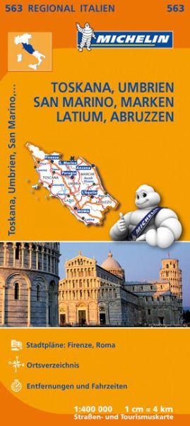Michelin 563 Toskana, Umbrien, San Marino, Marken, Latium, Abruzzen; Straßenkarte