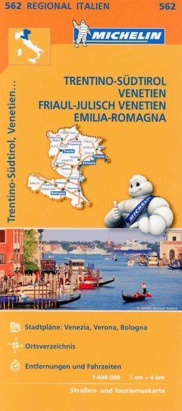 Michelin 562 Trentino-Südtirol, Venetien, Friaul-Julisch Venetien, Emilia-Romagna; Straßenkarte