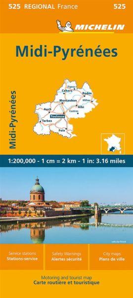 Michelin regional 525 Midi-Pyrénées Straßenkarte 1:200.000