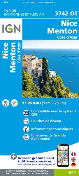 IGN 3742 OT Nice, Menton, Cote d'Azur, FrankreichWanderkarte 1:25.000