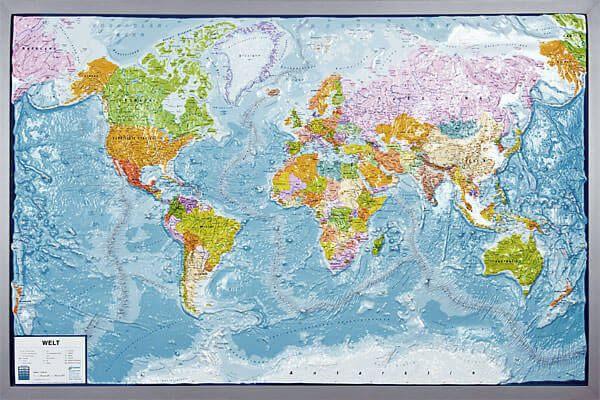 Welt Relief politisch mit silbernem Holzrahmen 92,6 cm hoch x 139 cm