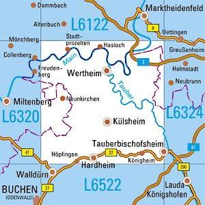 L6322 Wertheim topographische Karte 1:50.000 Baden-Württemberg, TK50