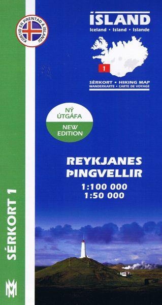 Sérkort 1: Reykjanes, Þingvellir / Thingvellir - Island Wanderkarte 1:100.000 / 1:50.000
