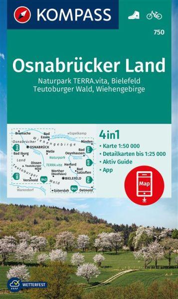 Kompass Karte 750, Osnabrücker Land 1:50.000, Wandern, Rad fahren