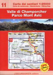 Valle Champorcher, Mont Avic, Wanderkarte l'escursionista Bl. 11