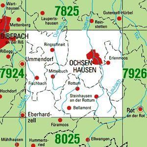 7925 OCHSENHAUSEN topographische Karte 1:25.000 Baden-Württemberg, TK25