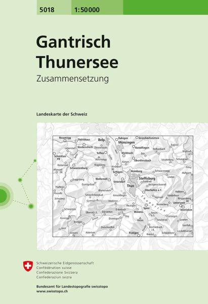 5018 Gantrisch - Thunersee topographische Wanderkarte Schweiz 1:50.000