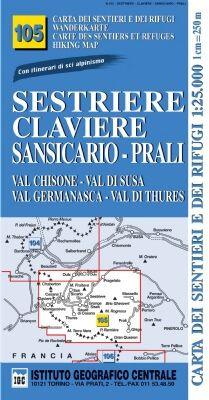 IGC 105 – Wanderkarte für Sestriere - Claviere - Sansicario - Prali 1:25.000