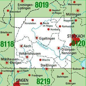 8119 EIGELTINGEN topographische Karte 1:25.000 Baden-Württemberg, TK25